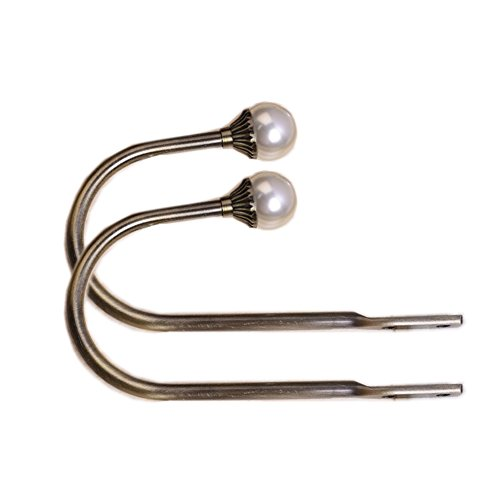 YING CHIC YYC 1Pair Pearl U Arm Curtain Wall Hooks Drapery Holdback Multi Use (Bronze)