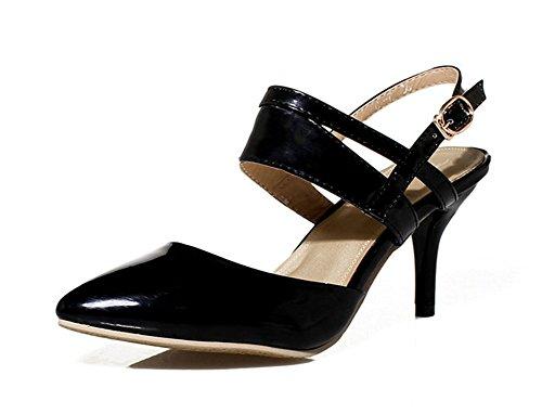 Aisun Womens Trendy Formal Ankle Strap Belt Buckle Sandals Black p0nMUe