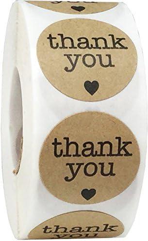 Braune Natürliche Kraft Thank You Aufkleber, 25 mm 1 Zoll Kreis Etiketten 500 Packung