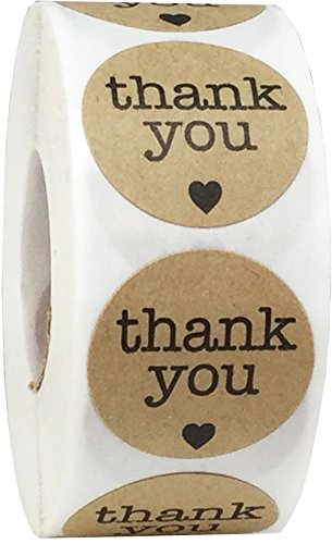 Brown Kraft with Black Thank You Stickers, 1 Inch Round, 500 Total Labels on a Roll by InStockLabels.com