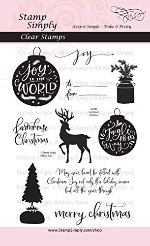 Stamp Simply Clear Stamps Farmhouse Christmas Joy To The World 4x6 Inch Sheet - 10 - Sheet Card Holy