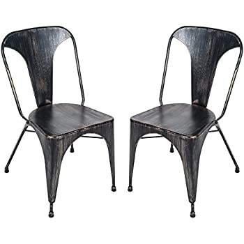 Merax T Series Set Of 2 Tolix Style High Back Chic Steel Stackable Metal Dining Chairs For Bistro Cafe Golden Black