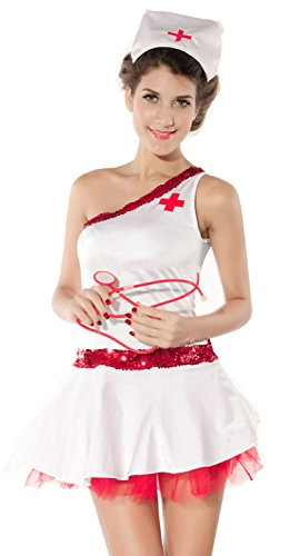 [IF FEEL Women's Sexy Nurse Uniforme Cosplay Costume Set For Halloween (One size, LC8683)] (Doctor And Patient Couple Costume)
