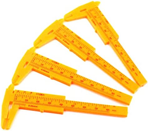 Portable Orange Mini Vernier Calipers 80mm 0-3.15 Plastic Pack of 3