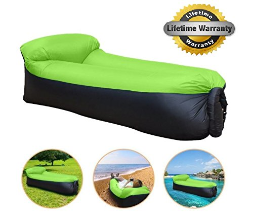 Built In Cup Holders - Turbo Snail Outdoor - Portable Air Sofa with Built-in Pillow and Carry Bag, Cup holder include (Green)