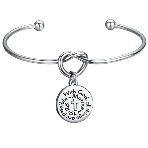 KUIYAI with God All Things are Possible Knot Bangle First Communion Bracelet Gift (19:26 Knot Cuff)