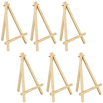 US Art Supply 8 inch Mini Wood Display Easel Natural (6-Pack) from US Art Supply