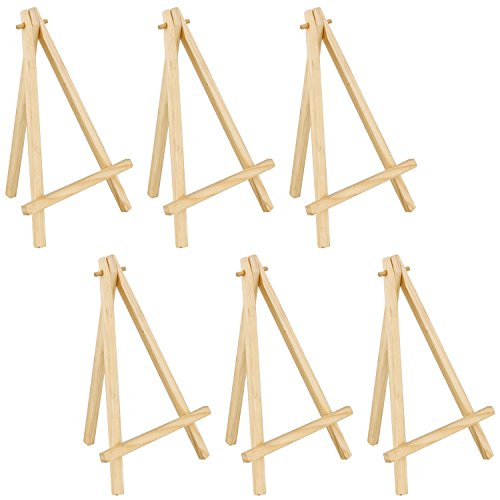 US Art Supply 8 inch Mini Wood Display Easel Natural (6-Pack) by US Art Supply