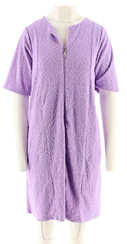 (Stan Herman Baby Terry Break-Away Short Zip Robe Lavender 2X NEW A301850)