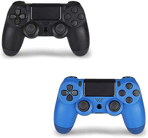 2 Pack Wireless Controller for Remote for Sony with 2 Pack Charging Cable, Wave Blue + Jet Black