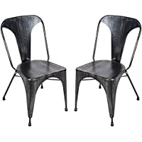 Merax T Series Set of 2 Tolix Style High Back Chic Steel Stackable Metal Dining Chairs for Bistro/Cafe (Golden Black)