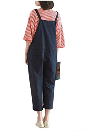 0842d1954dc YAELUCKY Women Cotton Linen Overalls Adjustable Strap Pattern Sleeveless  Jumpsuit With Pockets Blue (XL) - 43246-43944   Jumpsuits
