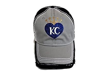 Spirit Caps Royal Blue/White/Gold Glitter KC Kansas City Grey/Black Baseball Cap