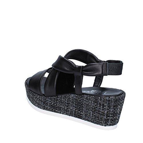 Para Vestir Negro Piel Sandalias de Negro Tres Jolie de Mujer wWRqPvgnx