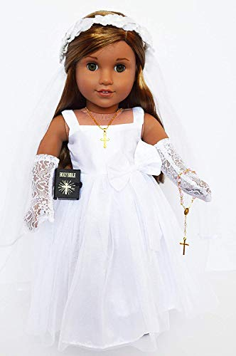 Brittany's My Premium Communion Gown- Wedding Dress Compatible with American Girl Dolls- 18 Inch Doll Clothes and Accessories -
