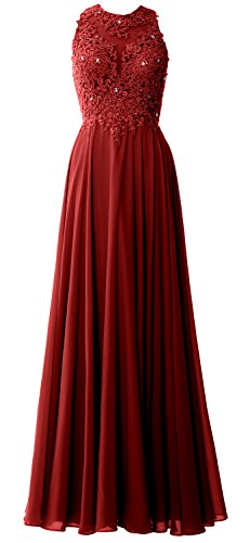 MACloth Elegant High Neck Long Prom Dress Lace Chiffon Formal Party Evening Gown Burgunderrot uF4N7