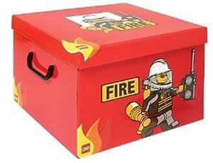 LEGO - Caja para guardar LEGO (tamaño XL), diseño de bombero en color rojo