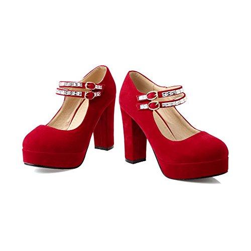 AllhqFashion Mujeres Tacón ancho Sólido Hebilla Puntera Redonda Cerrada De salón con Diamante Rojo