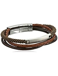 Fossil Mens Defender Wide Leather Bracelet