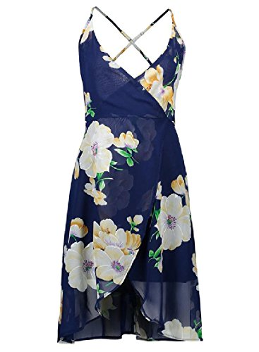 Dress Notch Pattern1 Coolred Cross Collar Chiffon Beach Floral Women Backless 55wzq8