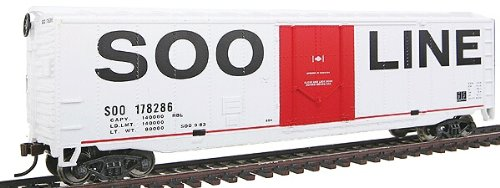 - Walthers Trainline 50' Plug-Door Boxcar with Metal Wheels Ready to Run Soo Line