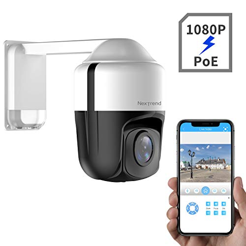 1080P PTZ Camera, NexTrend 3.5Inch Mini PTZ Security Camera with PoE+, 4X Optical Zoom 150ft Night Vision with Audio Monitoring, PoE+ PTZ Outdoor Security Camera, Easy Install&Control Auto Focus