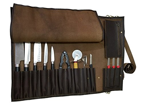 Lightweight Genuine Premium Dark Brown Leather 13 Pockets Professional Chef Knives Bag/Chef Knife Roll #K005 by luvsecretlingerie