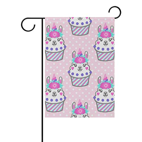 WIHVE Polyester Garden Flag, Unicorn Llama Cupcake Floral Polka Dot Double Sided Holiday Flag for Party Home Outdoor Decoration 28 x 40 Inches -