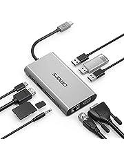 Omars Hub USB C Adattatore Alluminio 10-in-1 con Porta Tipo C HDMI 4K VGA Gigabit Ethernet 3 * USB 3.0 3,5mm AUX e Lettori di schede SD/TF per MacBook PRO 2017/2016 Huawei MateBook HP Lenovo e Altri