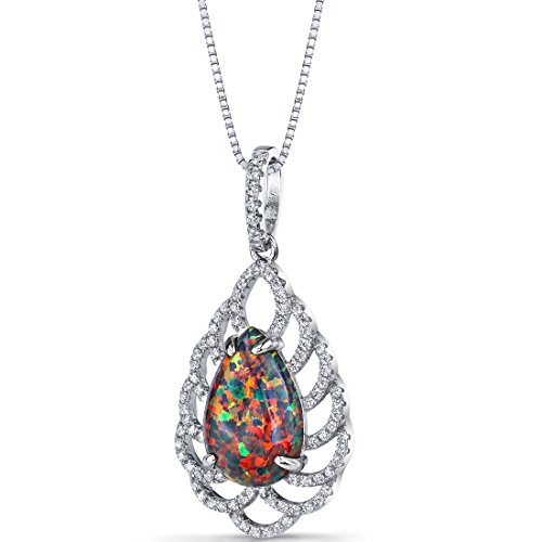 Created Black Opal Vintage Pendant Necklace Sterling Silver 2.75 Carats