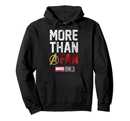Unisex Marvel Studios Ten Years More Than A Fan Graphic Hoodie 2XL Black