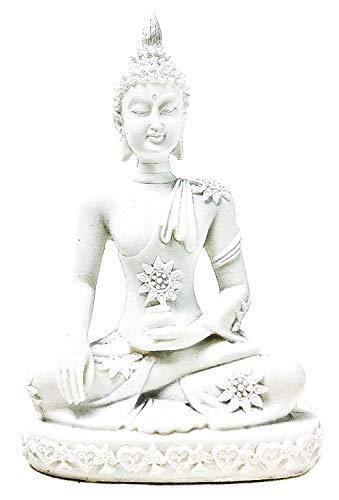 Bellaa 20508 Sakyamuni Buddha Statue Earth Touching Mudra Marble Style