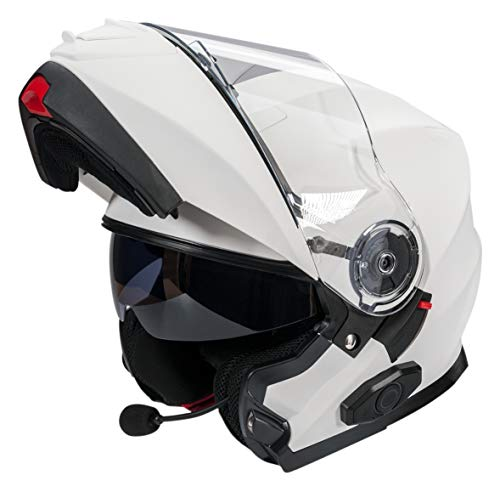 Bilt Techno 2.0 Evolution Sena Bluetooth Drop Down Sun Shield Vented DOT Sport Bike Street Motorcycle Modular Helmet - Matte White 2XL