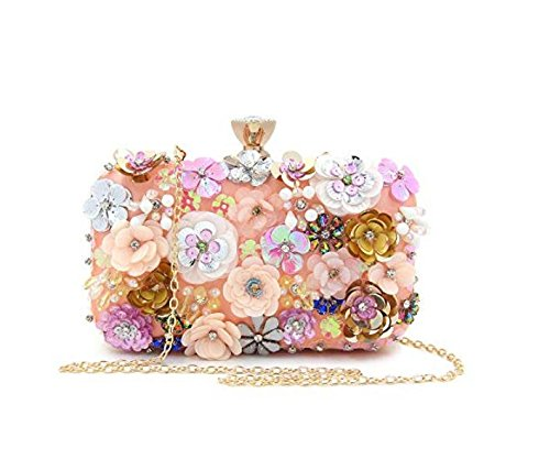 Clutch PinkB Flower Bag Colorful Sequins Women Evening Clutches Satin Evening Handbag wv8qA5