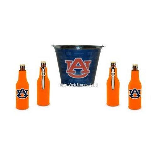 NCAA Auburn Tin Beer Pail & Bottle Suit (4) Set | Auburn Tigers Coozie & Bucket Gift Set