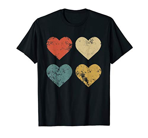 Vintage Hearts T-Shirt Cool Retro Valentines Day Gift Tee