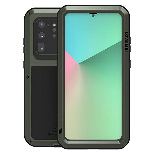 LOVE MEI for Samsung Galaxy S20 Ultra Case,Outdoor Sports Heavy Duty Waterproof Shockproof Dust/Dirt Proof Aluminum Metal+Silicone+Tempered Glass Case Cover for Samsung Galaxy S20 Ultra (Green)