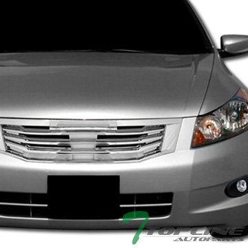 Topline Autopart Chrome Mu Style Front Hood Bumper Grill Grille Abs 2008-2010 Honda Accord (4dr Front Hood Grille)