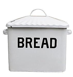 Creative Co-op Enameled Metal Bread Box, White