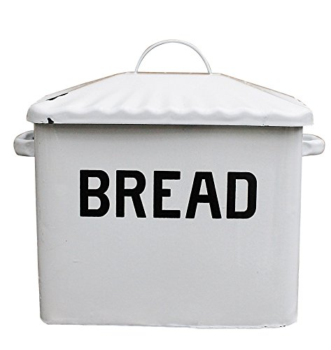 Creative Co-op Enameled Metal Bread Box, White Vintage Oven