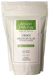 FRENCH CLAY GREEN-100% Pure & Natural-8oz (0.5lb)-by Amson Naturals , Illite Super Fine Powder