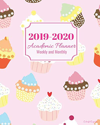 2019-2020 Academic Planner Weekly and Monthly Colorful Cupcakes