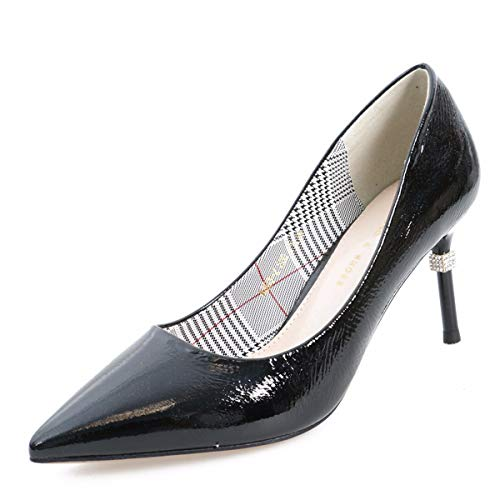 women's 8Cm Sexy Women'S Simple shoes Summer Fashion Shoes Black GTVERNH Fine Working High Heel Fashion Commuting Pointy Rqtx6n5