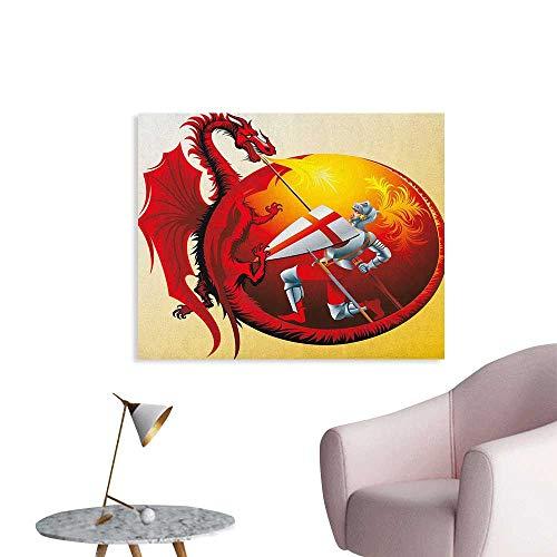 (Anzhutwelve Dragon Photographic Wallpaper Saint George with Fire Spitting Winged Creature Royal Knight Graphic Art Poster Silver Ruby Earth Yellow W28 xL20)