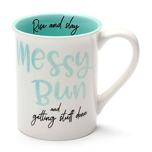 Enesco 6001247 Our Name Is Mud Messy Bun Stoneware Mug 16 oz Teal
