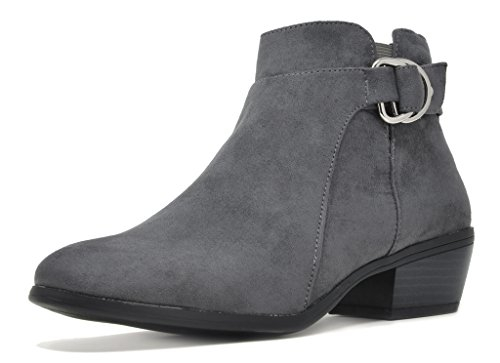 TOETOS Women's Boston-03 Grey Suede Block Heel Side Zipper Ankle Booties Size 11 M US (Side Zip Stretch Platforms)