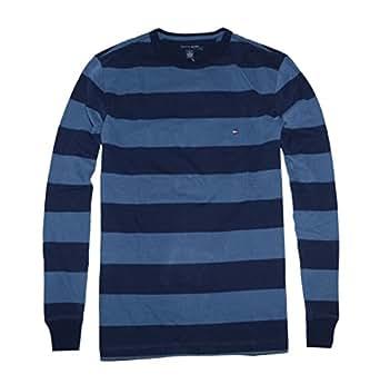 Tommy Hilfiger Men Wide Stripes Crewneck Long Sleeve T-shirt