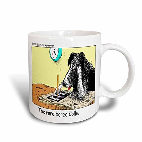 3dRose Londons Times Funny Dogs Cartoons - Bored Border Collie - 11oz Mug (mug_1469_1)