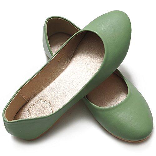 Ollio Kvinners Skoen Ballet Basisk Lys Komfort Lav Hæl Flat Fjær Grønn