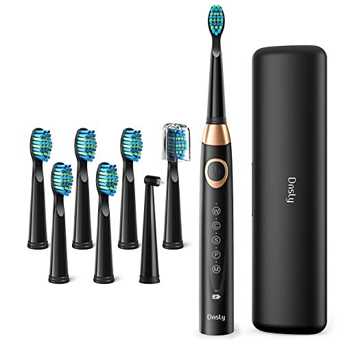 Electric Toothbrush for Adults with Powerful Sonic Cleaning - Whitening Toothbrushes with Smart Timer, 5 Modes, 8 Brush Heads & A Travel Case, Dentist Recommended Rechargeable Sonic Toothbrushes Black